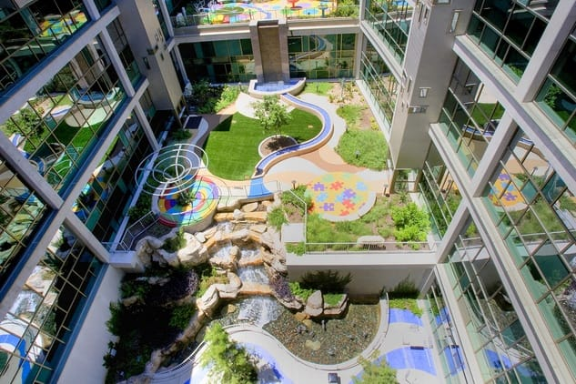 huge inside hospital garden arial view