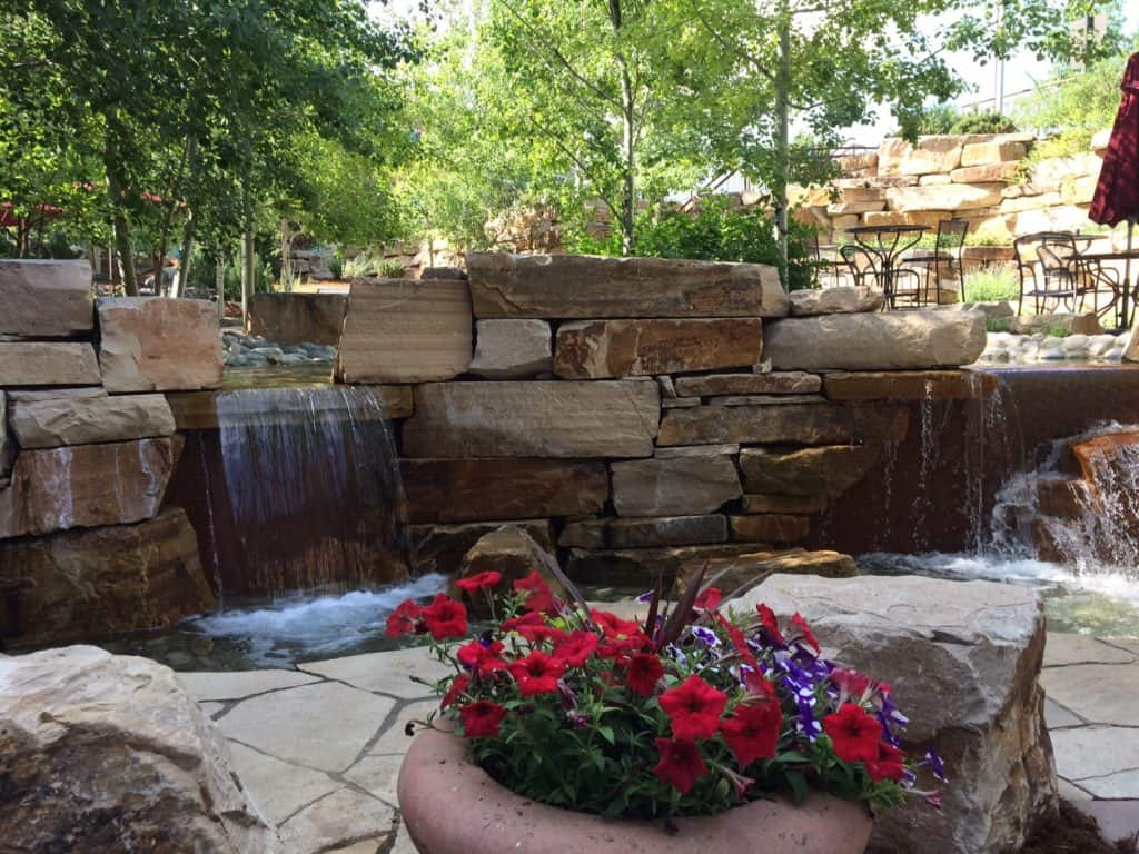 pot of red flowers with landscape waterfall in background