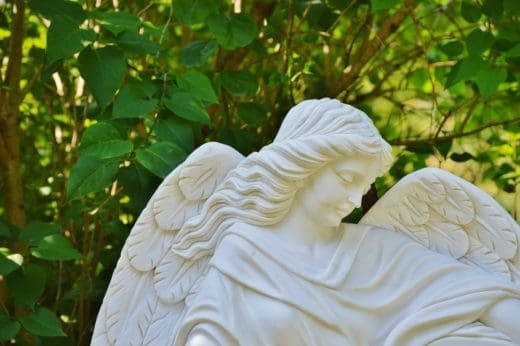angel statue in garden