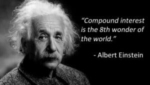 Albert Einstein face and quote about compound interest