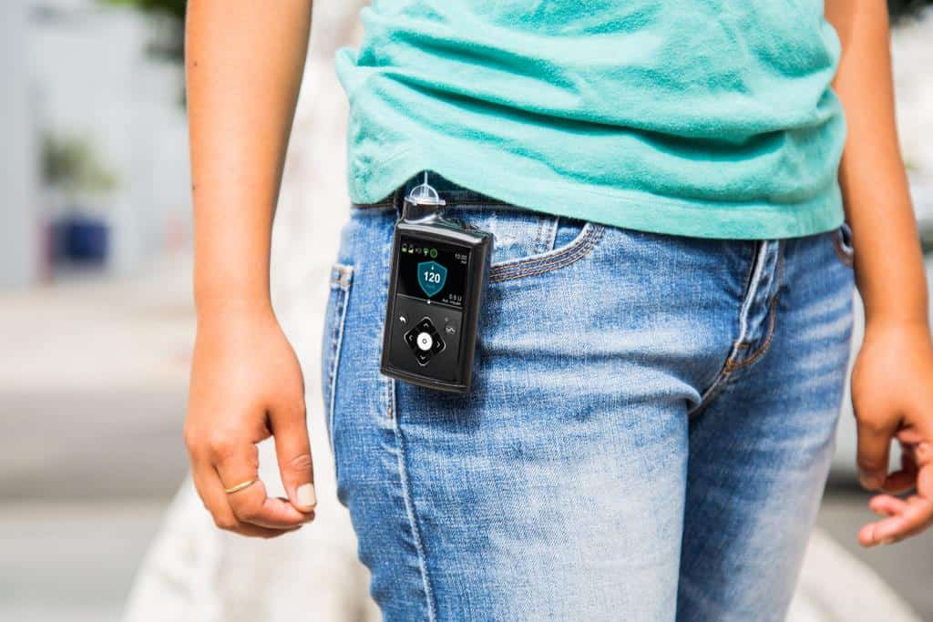 Glucose monitor attached to jeans belt loop