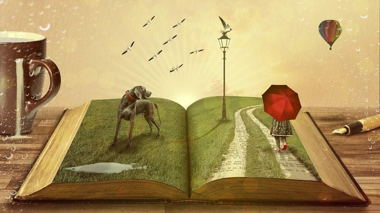 Open story book with dog, girl and umbrella, and birds.