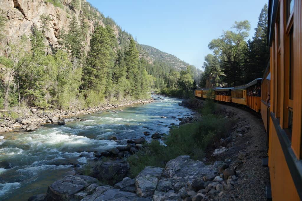Durango railroad through the canyon
