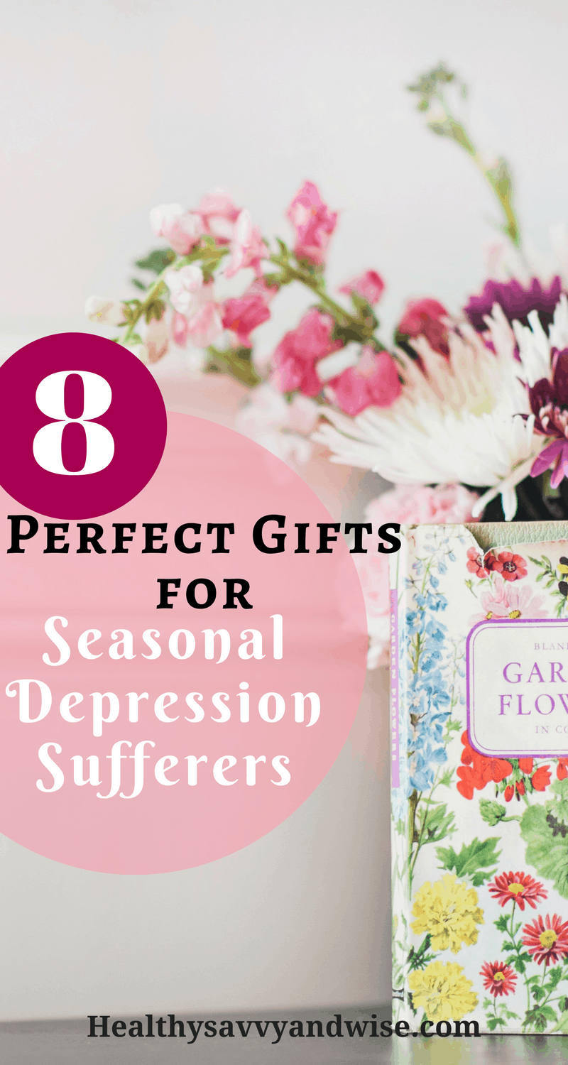 Perfect gift ideas for people who suffer from seasonal depression, SAD, or winter blues. These gifts will add to your self-care and wellness routine and give you a healthy boost.  #depression #wellness #mentalhealth #seasonaldepressivedisorder