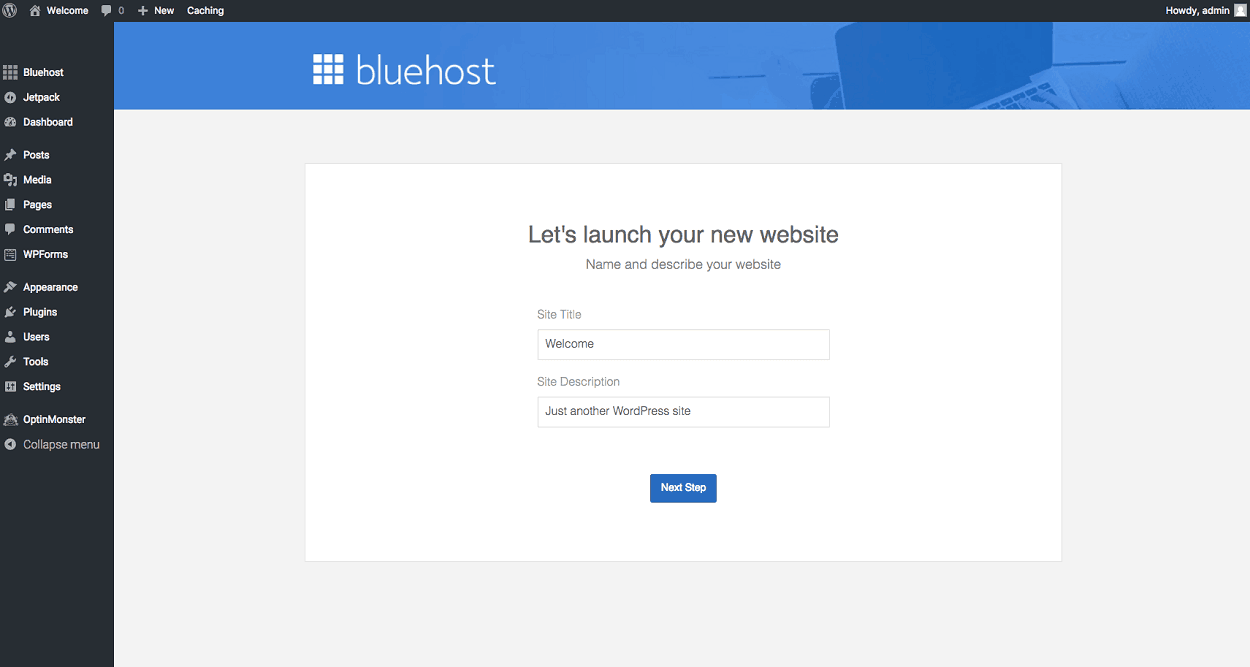 Bluehost image for launching your new website with WordPress