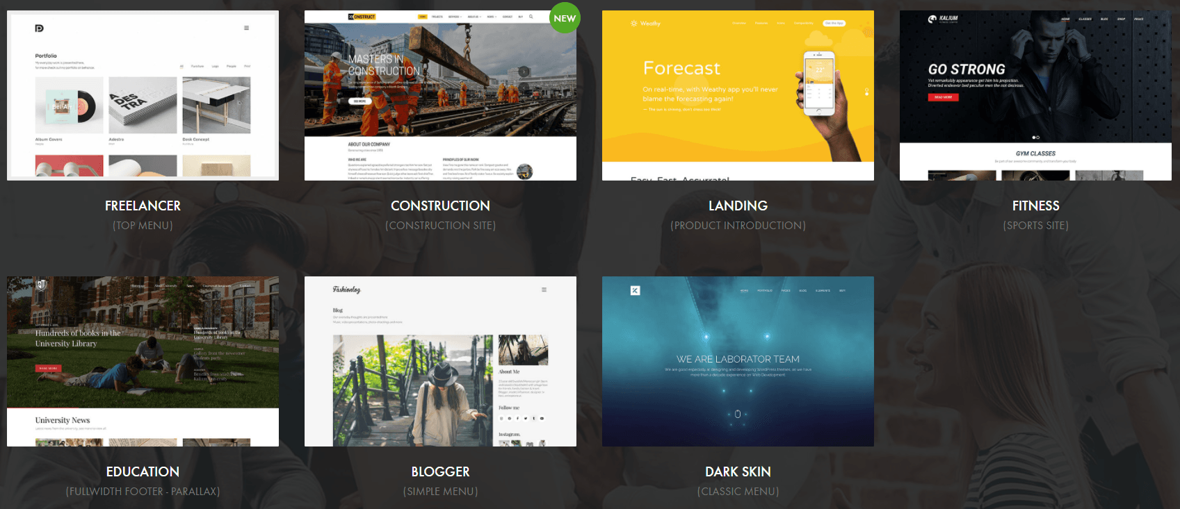 Image of blog theme showing several categories of blog layouts