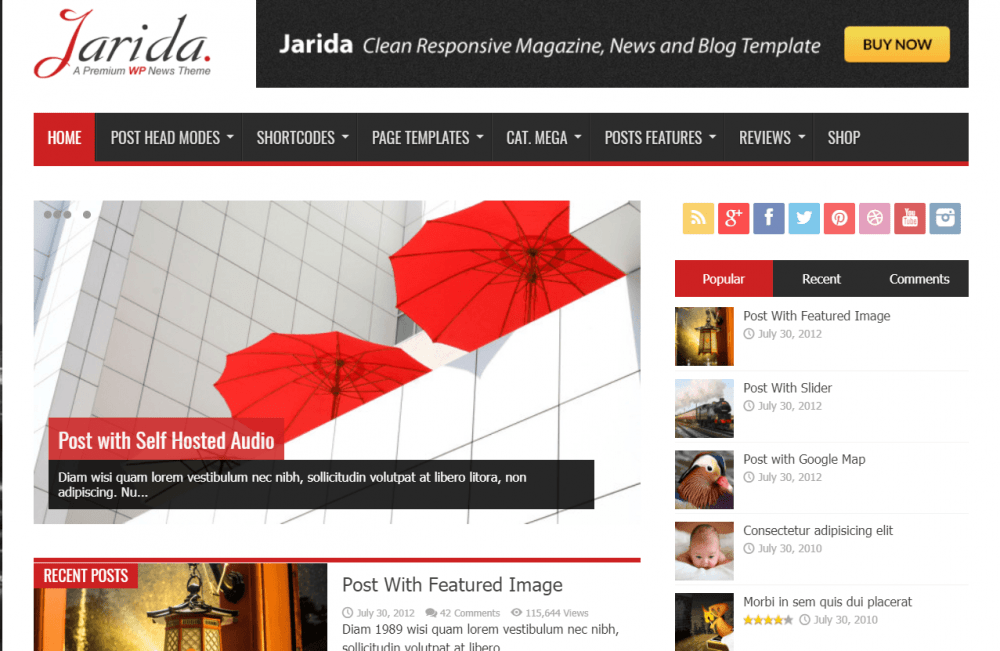 Image of blog theme with red umbrellas and sample categories.