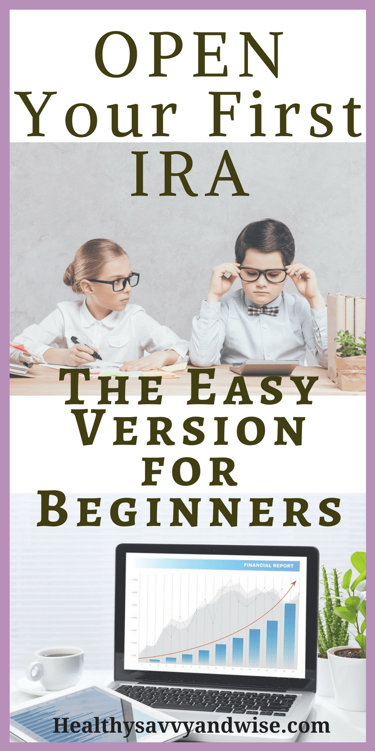 Pinterest graphic of two kids in business clothes - How to open an IRA for beginners