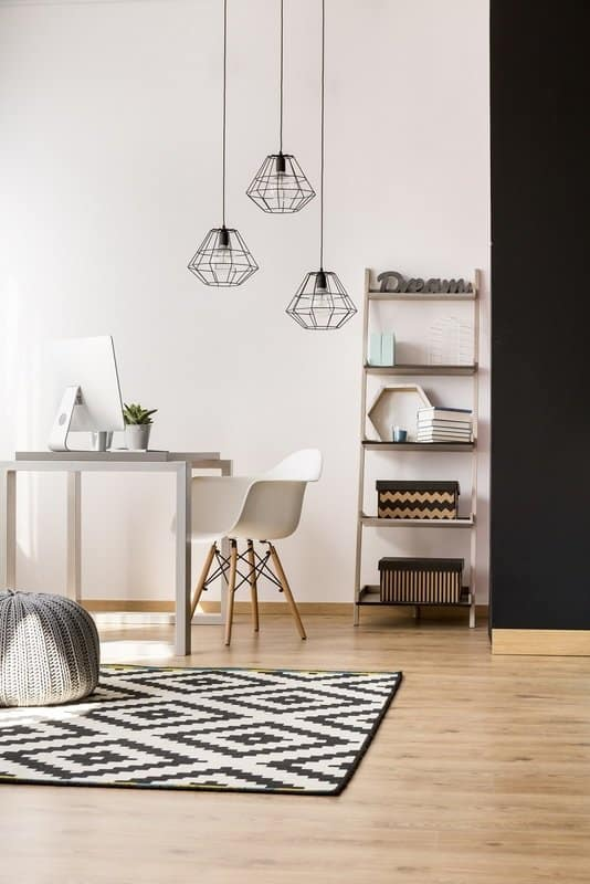 The Ultimate Productive Home Office -- white office desk with patterned rug