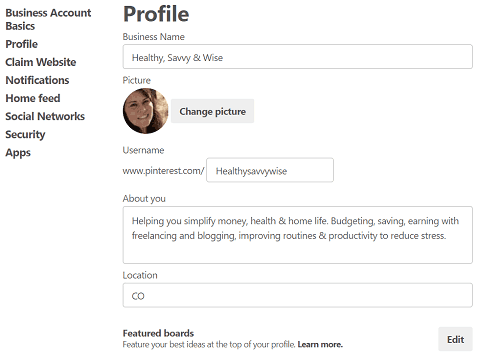 What is Pinterest and How to Use it for Business- screenshot of Pinterest account profile