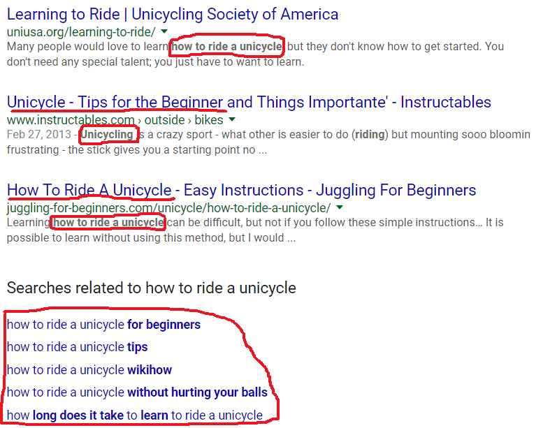 Google screenshot of how to use keywords for SEO