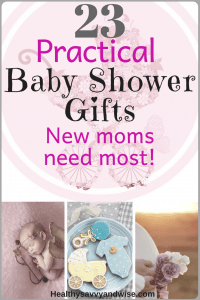Practical baby shower gifts pin with text and baby pictures.