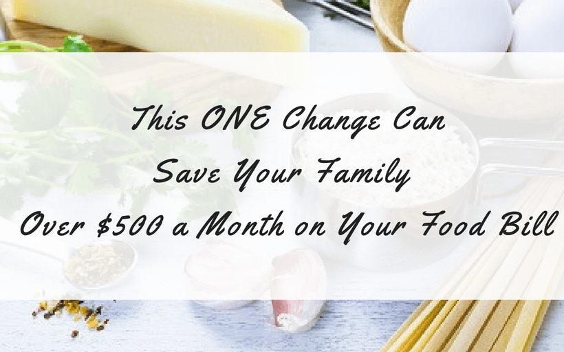 Save Money on food and reduce monthly food budget--kitchen island with pasta, rice, eggs, and cheese food staples