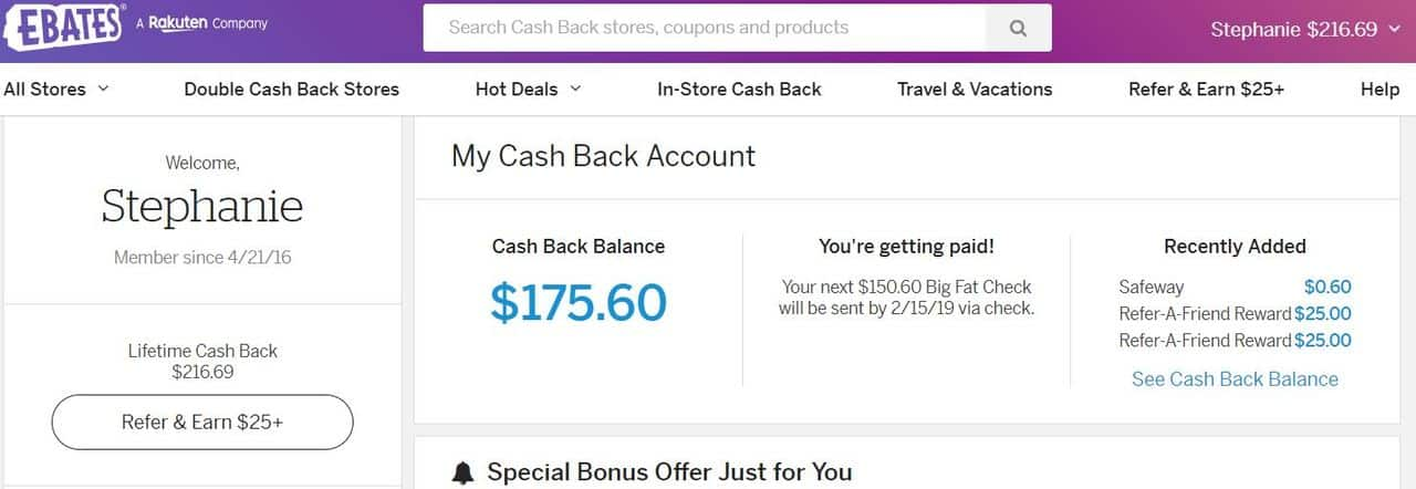 Compound interest examples - eBates screenshot