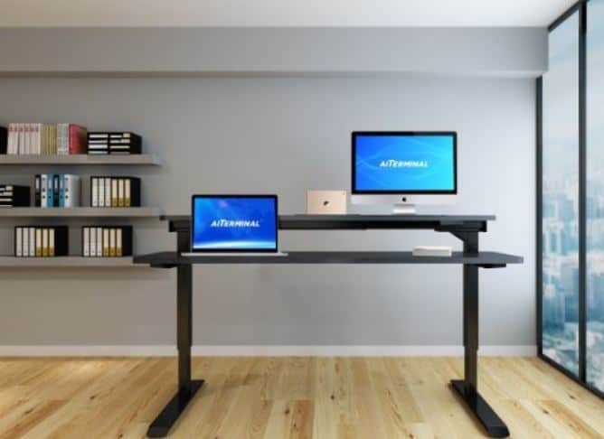 adjustable height workstation with electronic settings - black standing desk with two monitors