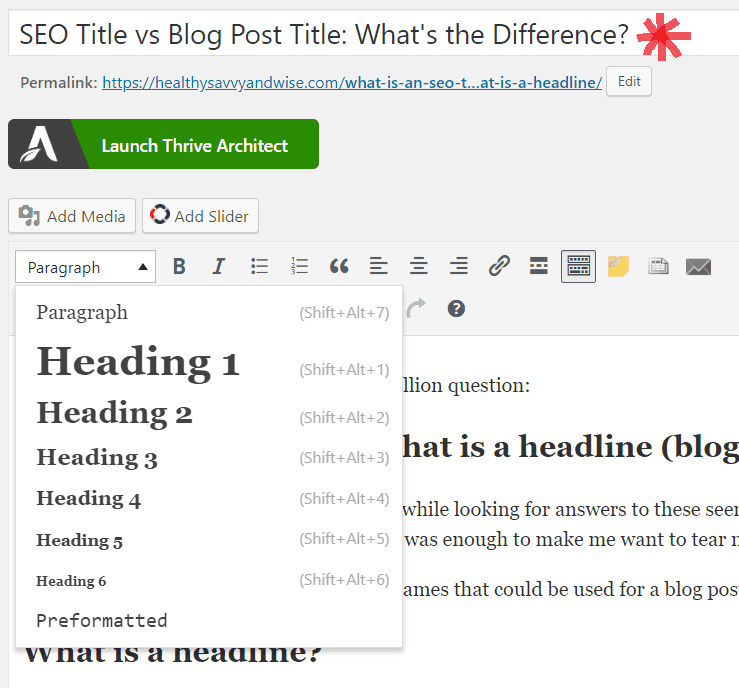 What is a headline vs what is an SEO title?