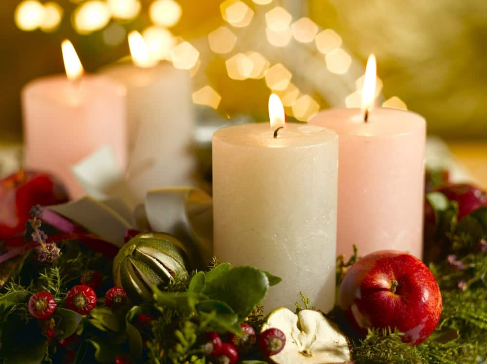 Advent wreath with a lighted candle