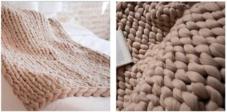 soft chunky knit throw blanket- gifts for people with depression