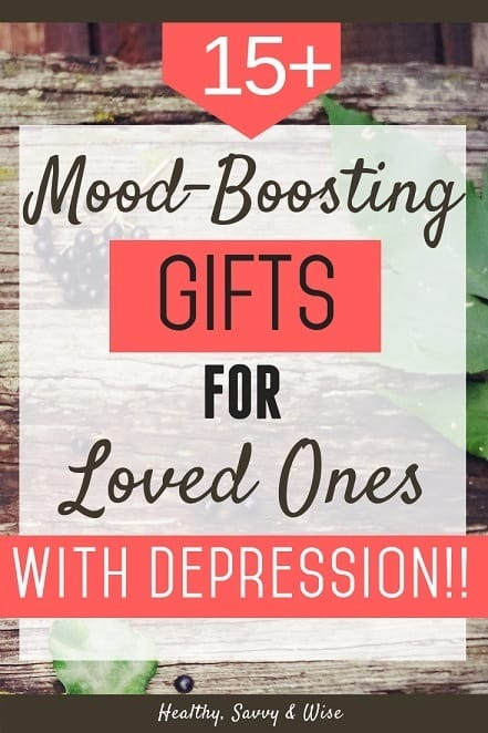 Pinterest graphic- wood table and leaves - gifts for people with depression