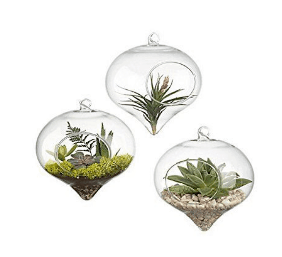 Home office decor ideas - hanging glass planter
