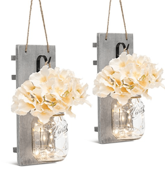 fairy light mason jar wall sconces