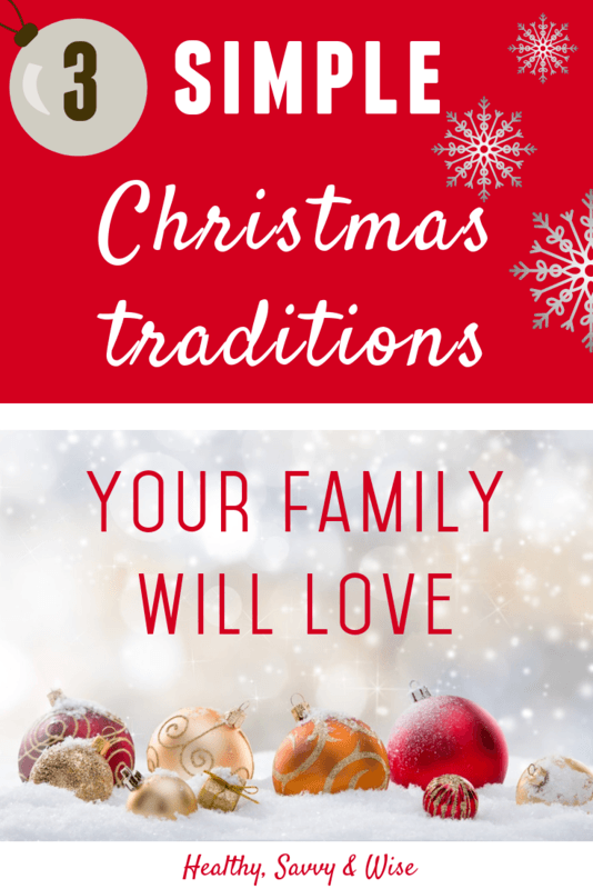 Red and white Christmas graphic- Christmas family traditions