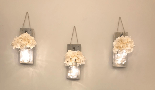 Home office inspiration - mason jar wall sconces with fairy lights