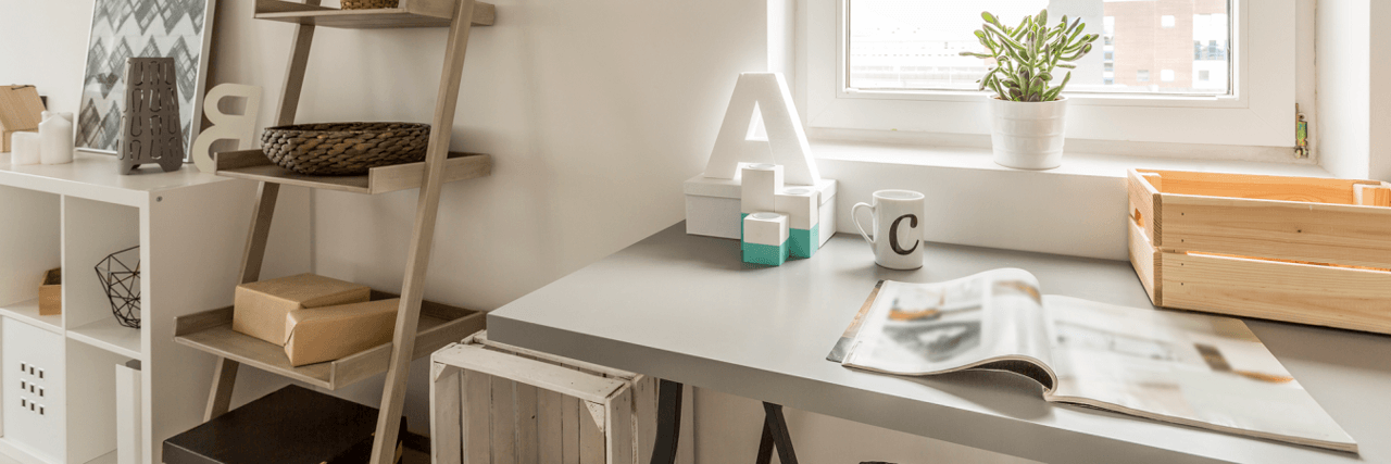 home office inspiration - white shabby chic desk with ladder shelving and white cube shelving