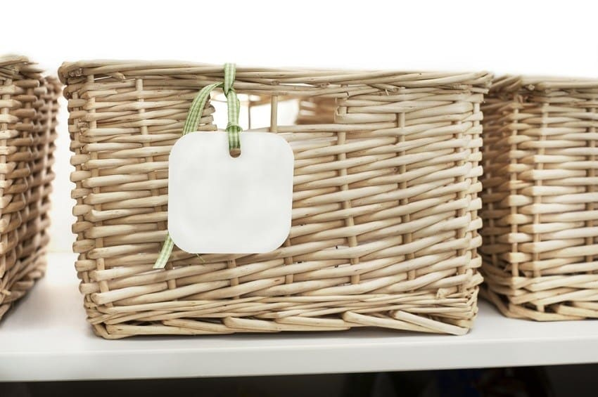 Woven storage basket with tag - declutter house in 30 days