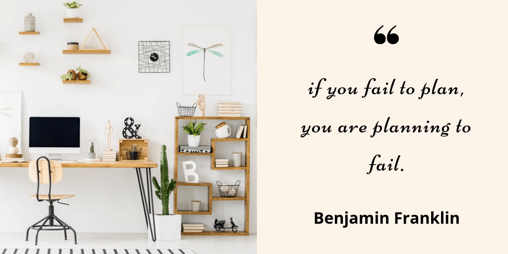 Benjamin Franklin quote graphic - working from home tips-planners