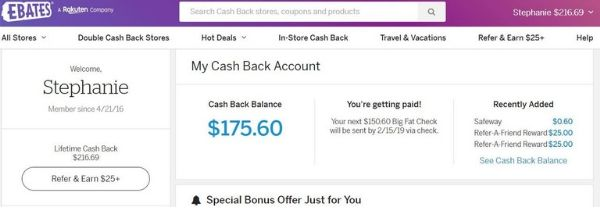 Ebates Earns You Free Money (now called Rakuten)
